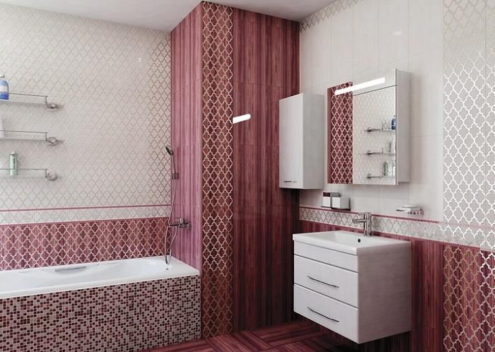 Дизайн ванной комнаты в цвете бордо