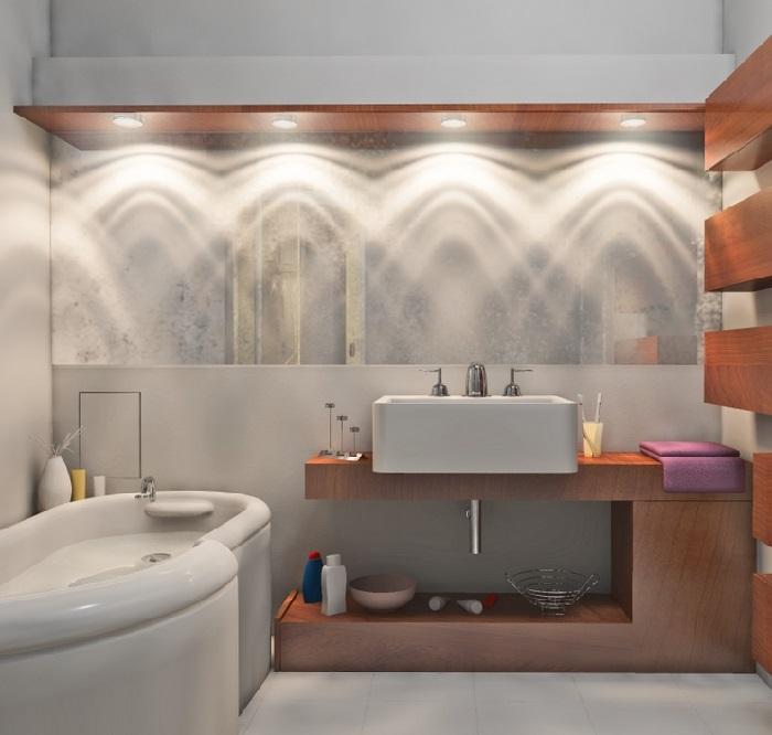 Дизайн ванной освещение