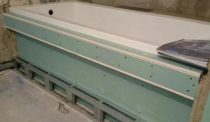 обшивка гипсокартоном ванной комнаты