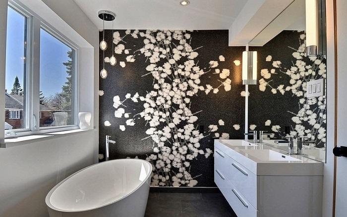 принт в ванной комнате