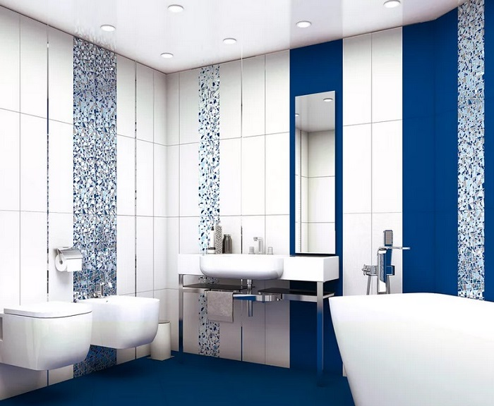 Ремонт ванной синий