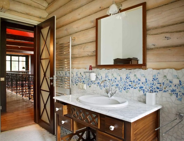 ванная в деревянном доме под ключ