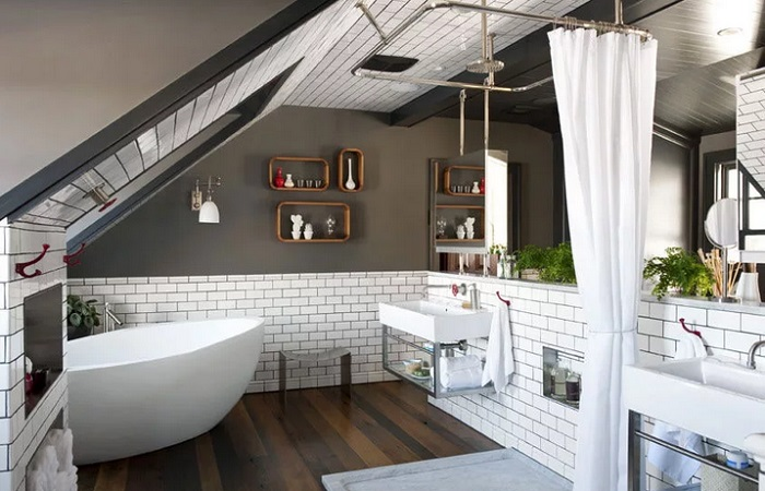 ванная комната на чердаке